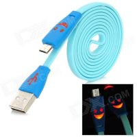 Micro USB Cable Led Lights Light Smiling Face 3FT Sync USB Flat Charger Cable