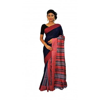 Rudrakshhh Garments Multicolor Silk Plain Saree With Blouse