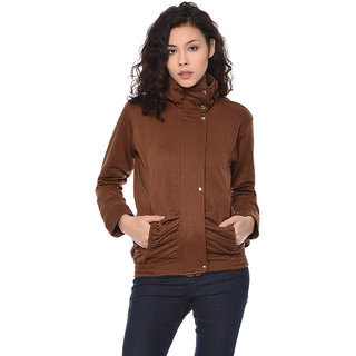 Purys Brown Zip Up Fleece Jacket