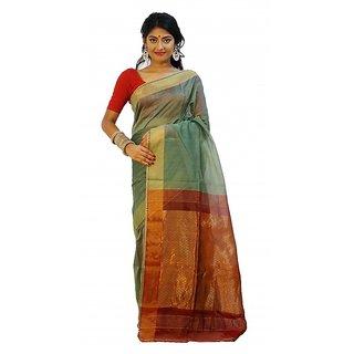 Rudrakshhh Garments Multicolor Silk Self Design Saree With Blouse