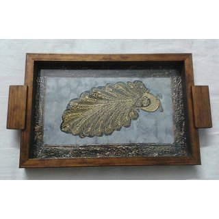 Decorative Serving Tray With A Painting Of Warli Peacock