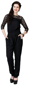 Black Rayon Plain Jumpsuits For Women