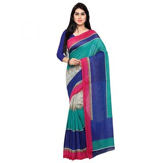 Aaina Blue & Turquoise Khadi Printed Saree With Blouse