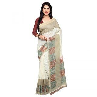 Aaina White Khadi Printed Saree With Blouse