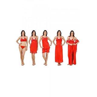 8fed87d102d Buy Keoti Red 7pcs Honeymoon Satin Nighty Set - (DN-7PCSNS-20 ...