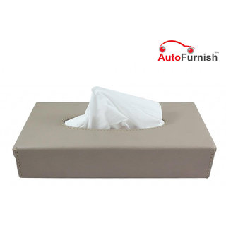 Autofurnish Black/Beige/Grey Leather Finish Tissue Holder Box with Free Tissues