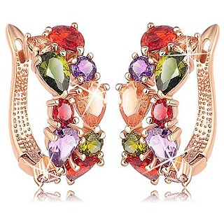 Jewels Galaxy Valentine Collection Sparkling Colors Flowerets Vine Cubic Zirconia 18K Rose Gold Plated Hoop Earrin