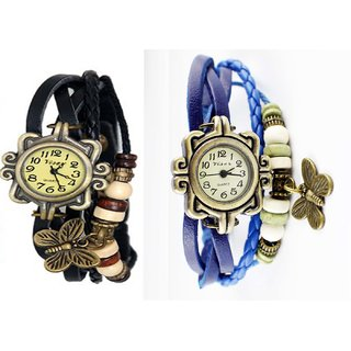 Combo Of 2 Vintage Butterfly Bronze Dial Womens Watch