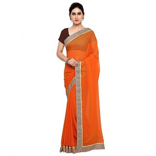 Meia Orange Georgette Embroidered Saree With Blouse