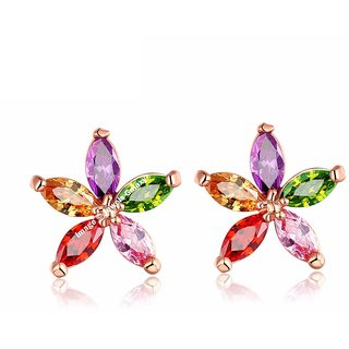 5f083f77c52 Buy Jewels Galaxy Luxuria 18K Rose Gold Plated Top Quality AAA Cubic  Zirconia Stud Earrings For Women Girls Online - Get 86% Off