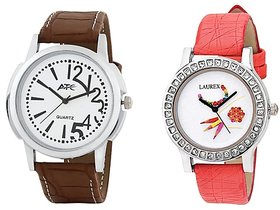 Atc Analog Leather Watches for Lovely Couple Combo-Atc-w-007-lx-151