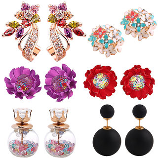 Jewels Galaxy Flowerets AD Multicolor Earrings And Rose Gold Plated Cubic Zirconia Earrings With Multicolor Stud Earrings Combo