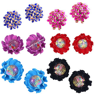 Jewels Galaxy Exclusive Limited Edition Flowerets AD Multicolor Earrings Combo
