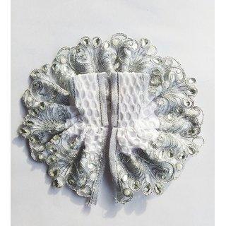 Laddu Gopal Dress Beautiful White Stone Pearl Lace Work Dress