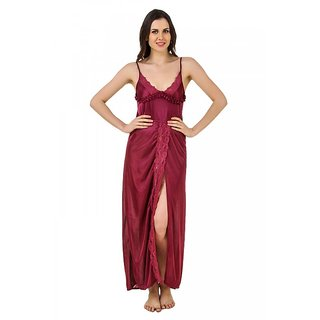 f5b2cd65c4 Buy Keoti Maroon Front Lower Open Full Satin Nighty - (DN-FNFOL-13 ...