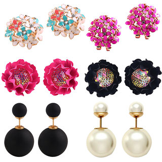 Jewels Galaxy Exclusive Solitaire Flowerets AD Multicolor Earrings And Multicolor Stud Earrings Combo