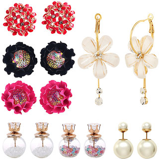 Jewels Galaxy Stunning Off White Flowerets Earrings With Flowerets AD Multicolor Earrings  Stud Earrings Combo