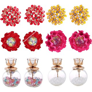 Jewels Galaxy Sparkling Colours Flowerets AD Multicolor Earrings And Multicolor Stud Earrings Combo