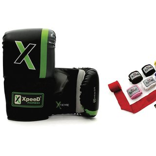 Xpeed Combo of Punching Gloves with Hand Wraps