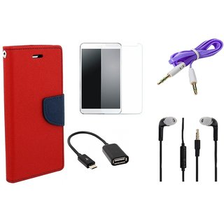 Poonam Red Mercury Goospery Fancy Diary Wallet Flip Cover With Handfree,Tempered Glass,OTG Cable,Aux Cable For With Handfree,Tempered Glass,OTG Cable,Aux Cable For Asus Zenfone Laser 5