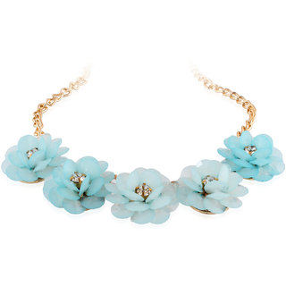 Fasherati Shinning Blue Floral Necklace for Girls
