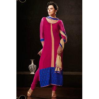Pleasant Pink Resham Embroidered Chiffon Salwar Kameez (Design 1)