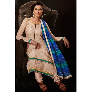 Cream Resham Embroidered Chiffon Salwar Kameez