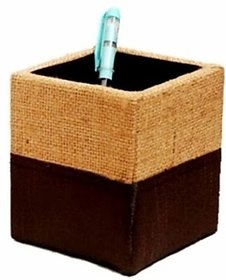 Indha Craft Jute Dupion 1 Compartments Card Board Pen Stand (Red)