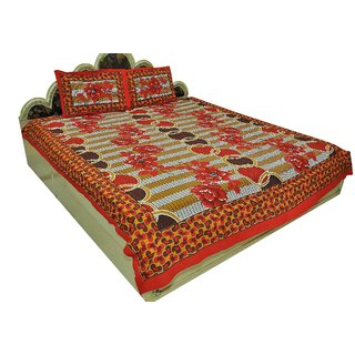 Designer Exclusive 3 Pcs. Floral Print King Size Double Bed SheetSRA2363
