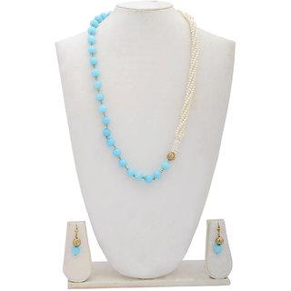 Arsya Jewellery Aqua Blue Quartz with White Pearl Necklace AON1