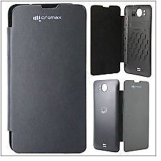 super popular 3810f 27827 Micromax A111 Canvas Doodle Leather Flip Back Cover Replace Case (Black)