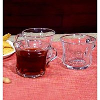 BlinkMax Glassware-Blinkmax Diamond Curve Tea Cups - Set Of 6 -250 Ml Each