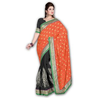 MYFZONE Designer Chiffon and Crab Jacquard saree with Foil work and Dhupian Lace