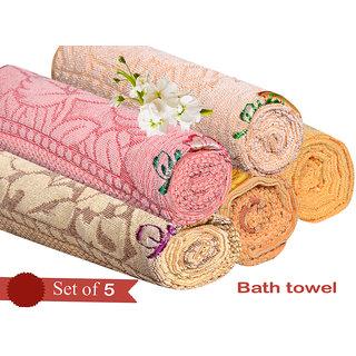 Buy Exclusive Flower Design Velvet Bath Towel Set Of 5