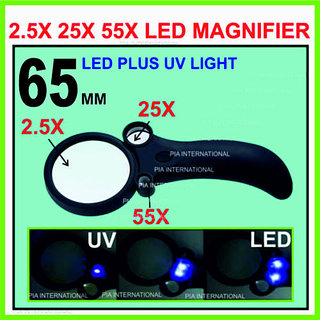 (65MM) 2.5X 25X 55X MAGNIFYING GLASS WITH UV & 4LED LIGHT