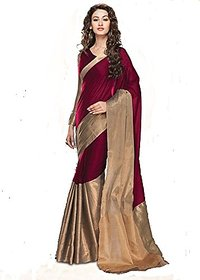 Agson Multicolor Art Silk Plain Saree With Blouse