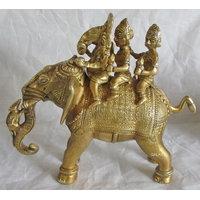 Shree Ganesha And Riddhi Siddhi On Elephant Brass Statues,God Idol For Pooja
