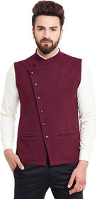 Hypernation Maroon Nehru neck Casual Jacket