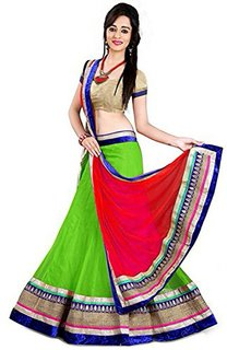 Active feel free life Net Fabric Lehenga Choli For Women (Green)-LASF2041