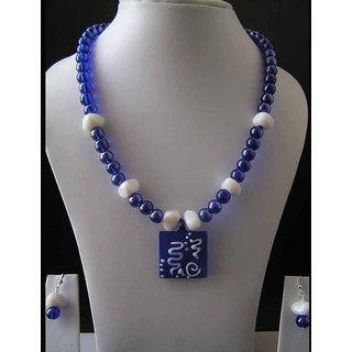 Deep Blue And White Beads Necklace With A Matching Coloured Pendant.
