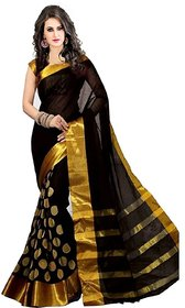 Agson Black Art Silk Plain Saree With Blouse