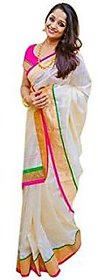 Agson White Art Silk Batik Print Saree With Blouse