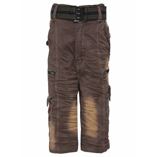 Punkster Brown Regular Fit Relaxed Chino Shorts With Belt For Boys