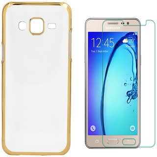 Electroplated Golden Chrome Back Cover with 25D HD Tempered Glass for Reliance Jio LYF Earth 1