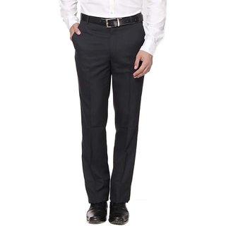 Inspire Black Viscose Regular Fit Formal Trouser For Men