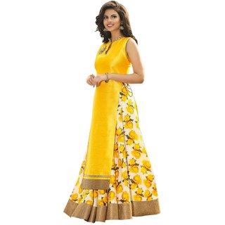 Aika Yellow Art Silk Self Design Semi Stitched Lehenga