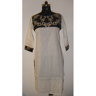 Virasat (VFA) - Cotton kurti with boat neck in Brown and Off white color