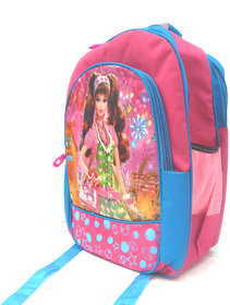 Stylish 3D Print Beautifull Doll Pink and Black Children's Backpack-Peponi