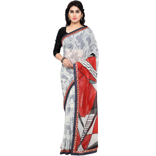 Aaina Red & White Chiffon Embroidered Saree With Blouse