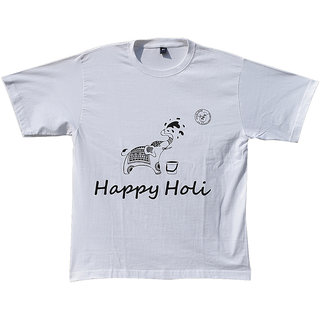 Madsbag Unisex Colour Changing T-Shirt  Spills out Organic Colours on throwing Water  Happy Holi - Elephant